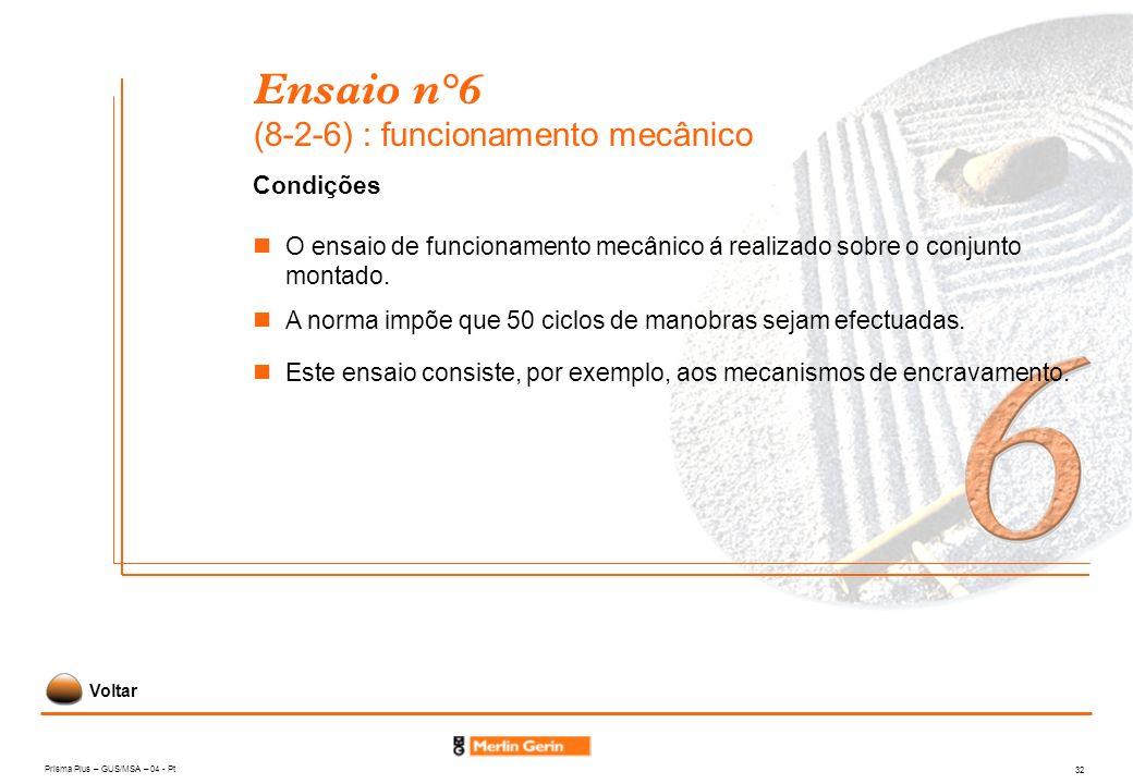 Prisma Plus – GUS/MSA – 04 - Pt 32 Ensaio n°6 (8-2-6) : funcionamento mecânico Condições A norma impõe que 50 ciclos de manobras sejam efectuadas. O e