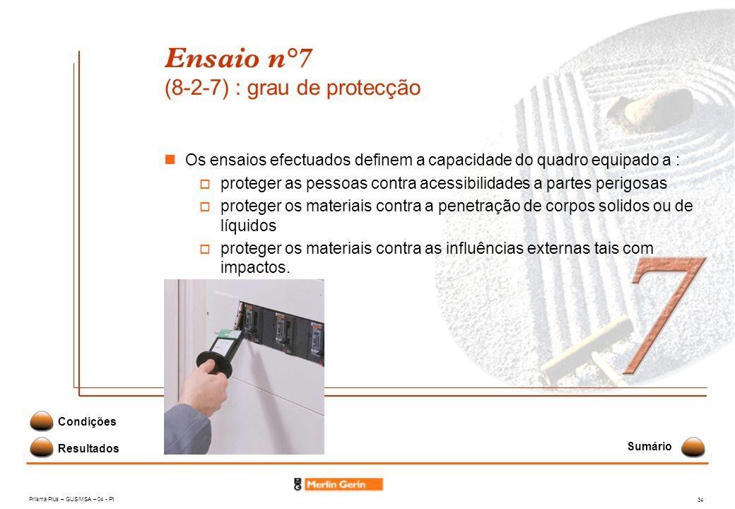 Prisma Plus – GUS/MSA – 04 - Pt 34 Ensaio n°7 (8-2-7) : grau de protecção Resultados Condições Os ensaios efectuados definem a capacidade do quadro eq