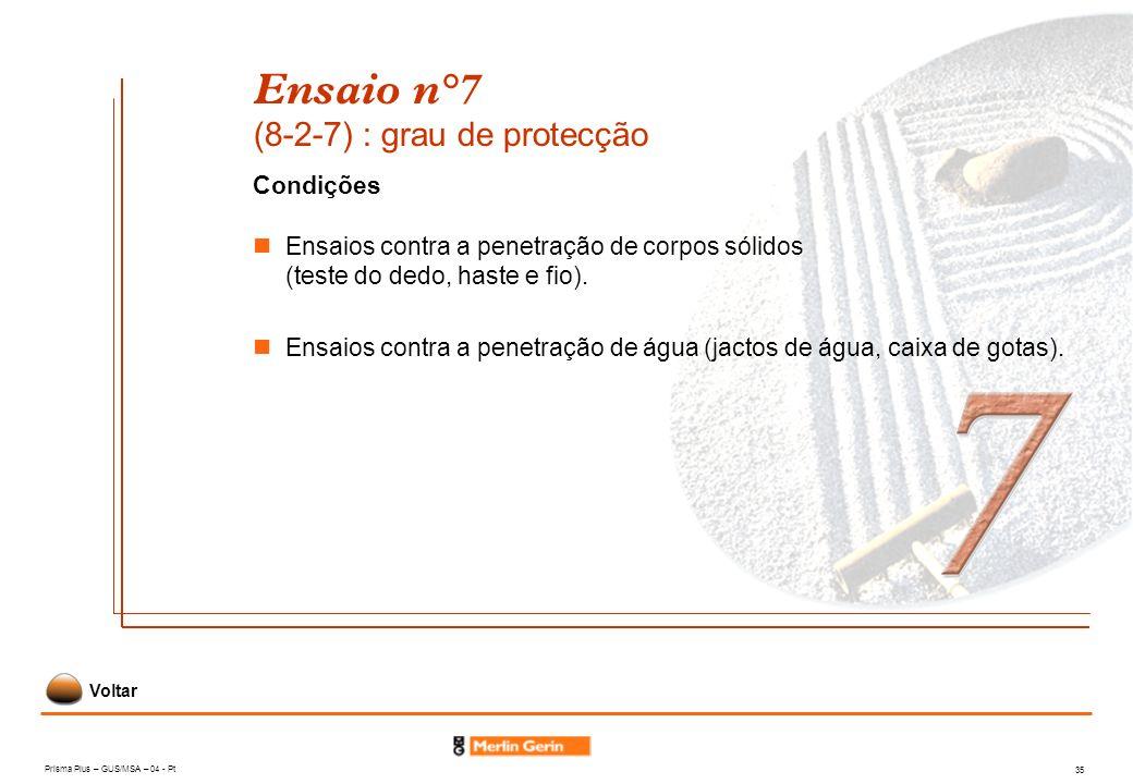 Prisma Plus – GUS/MSA – 04 - Pt 35 Ensaio n°7 (8-2-7) : grau de protecção Condições Ensaios contra a penetração de corpos sólidos (teste do dedo, hast