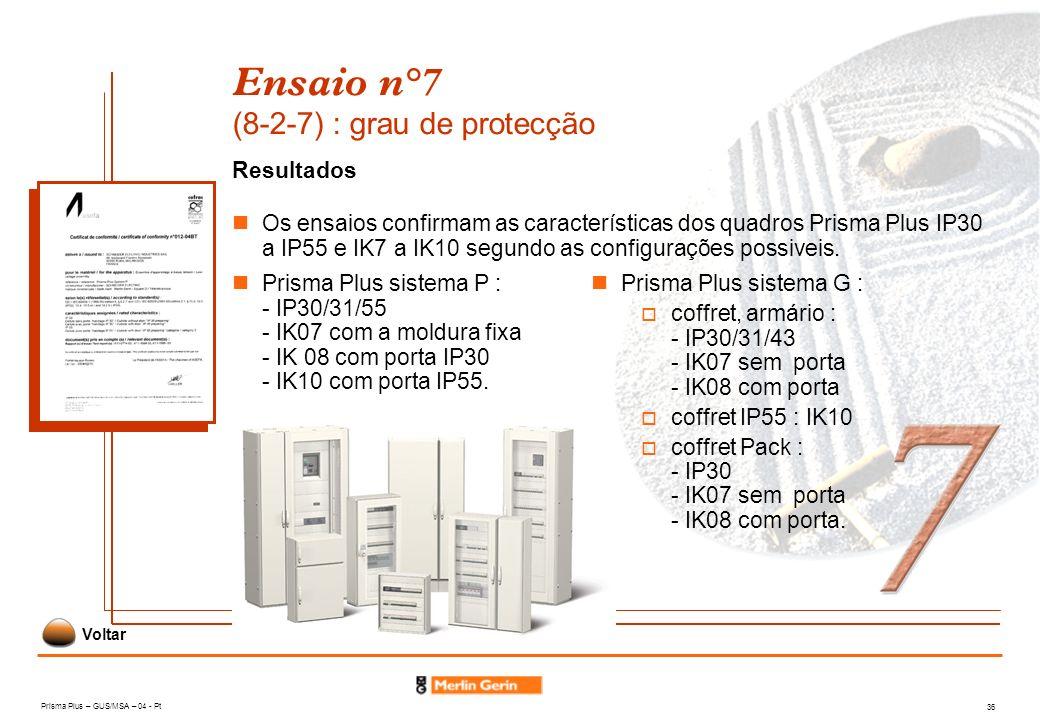 Prisma Plus – GUS/MSA – 04 - Pt 36 Ensaio n°7 (8-2-7) : grau de protecção Resultados Os ensaios confirmam as características dos quadros Prisma Plus I