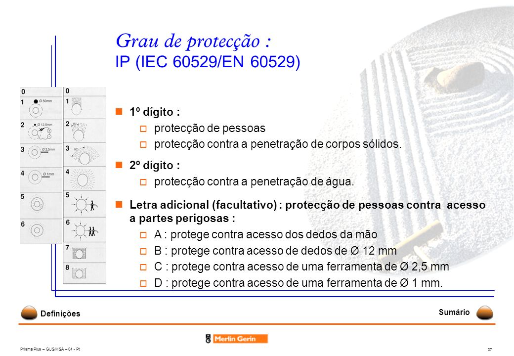 Prisma Plus – GUS/MSA – 04 - Pt 37 Grau de protecção : IP (IEC 60529/EN 60529) 1º dígito : protecção de pessoas protecção contra a penetração de corpo