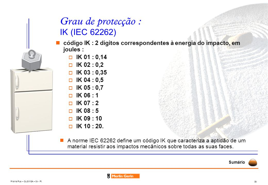 Prisma Plus – GUS/MSA – 04 - Pt 39 código IK : 2 dígitos correspondentes à energia do impacto, em joules : IK 01 : 0,14 IK 02 : 0,2 IK 03 : 0,35 IK 04