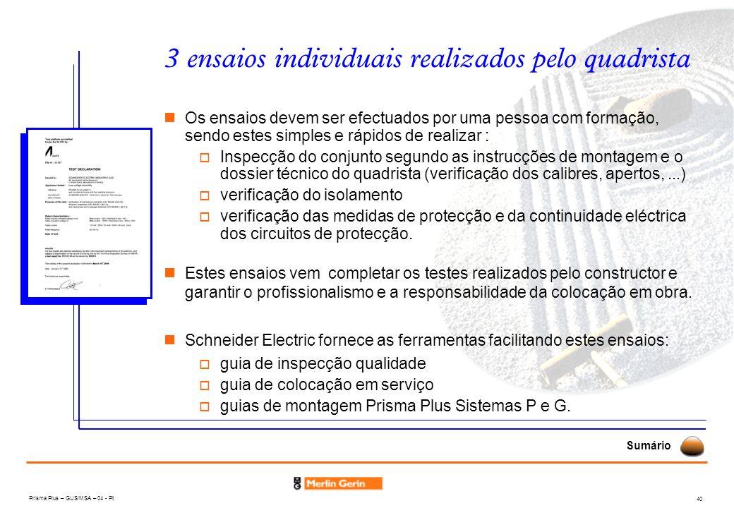 Prisma Plus – GUS/MSA – 04 - Pt 40 3 ensaios individuais realizados pelo quadrista Os ensaios devem ser efectuados por uma pessoa com formação, sendo