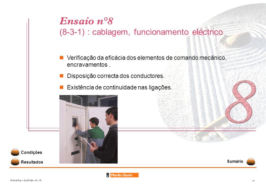 Prisma Plus – GUS/MSA – 04 - Pt 41 Ensaio n°8 (8-3-1) : cablagem, funcionamento eléctrico Resultados Condições Verificação da eficácia dos elementos d