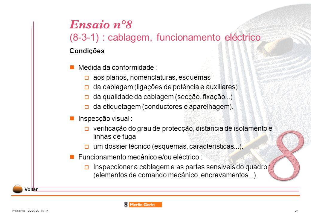 Prisma Plus – GUS/MSA – 04 - Pt 42 Ensaio n°8 (8-3-1) : cablagem, funcionamento eléctrico Condições Medida da conformidade : aos planos, nomenclaturas