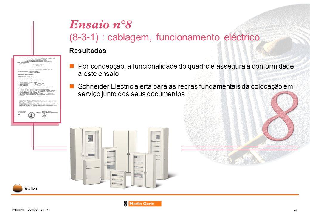 Prisma Plus – GUS/MSA – 04 - Pt 43 Ensaio n°8 (8-3-1) : cablagem, funcionamento eléctrico Resultados Por concepção, a funcionalidade do quadro é asseg