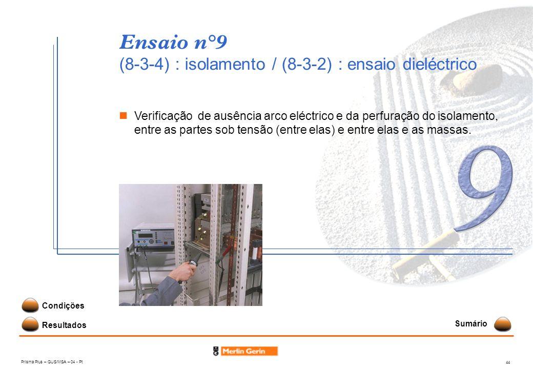 Prisma Plus – GUS/MSA – 04 - Pt 44 Ensaio n°9 (8-3-4) : isolamento / (8-3-2) : ensaio dieléctrico Resultados Condições Verificação de ausência arco el