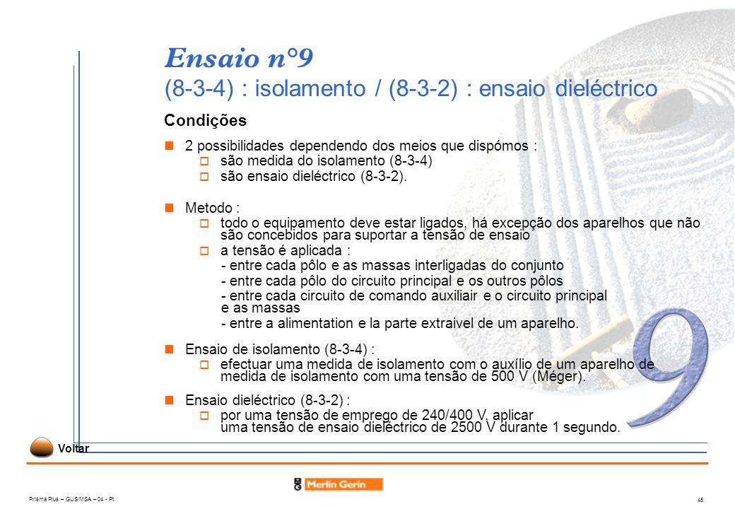 Prisma Plus – GUS/MSA – 04 - Pt 45 Ensaio n°9 (8-3-4) : isolamento / (8-3-2) : ensaio dieléctrico Condições 2 possibilidades dependendo dos meios que