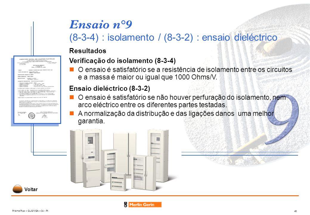 Prisma Plus – GUS/MSA – 04 - Pt 46 Ensaio n°9 (8-3-4) : isolamento / (8-3-2) : ensaio dieléctrico Resultados Verificação do isolamento (8-3-4) O ensai
