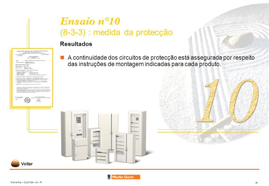 Prisma Plus – GUS/MSA – 04 - Pt 49 Ensaio n°10 (8-3-3) : medida da protecção Resultados A continuidade dos circuitos de protecção está assegurada por