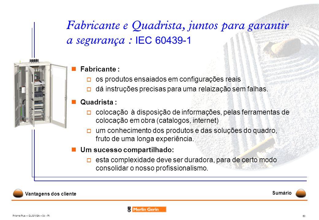 Prisma Plus – GUS/MSA – 04 - Pt 50 Fabricante e Quadrista, juntos para garantir a segurança : IEC 60439-1 Fabricante : os produtos ensaiados em config
