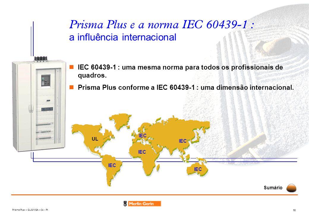 Prisma Plus – GUS/MSA – 04 - Pt 52 Prisma Plus e a norma IEC 60439-1 : a influência internacional IEC 60439-1 : uma mesma norma para todos os profissi