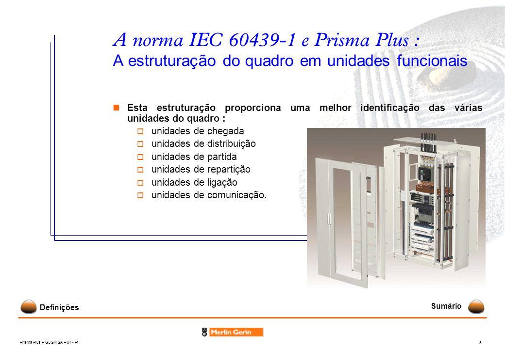 Prisma Plus – GUS/MSA – 04 - Pt 8 A norma IEC 60439-1 e Prisma Plus : A estruturação do quadro em unidades funcionais Esta estruturação proporciona um