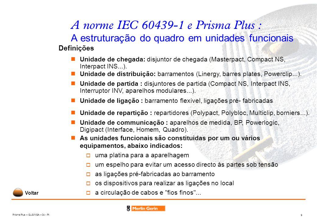 Prisma Plus – GUS/MSA – 04 - Pt 9 A norme IEC 60439-1 e Prisma Plus : A estruturação do quadro em unidades funcionais Unidade de chegada: disjuntor de