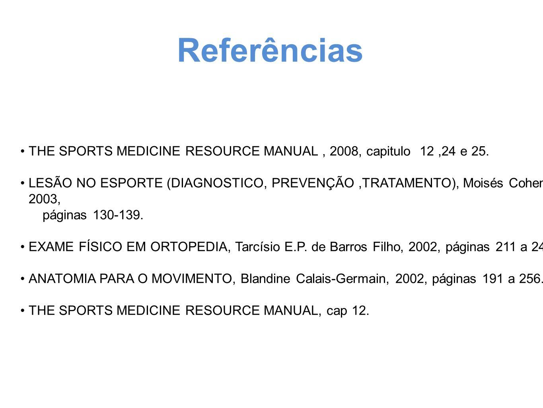 Referências THE SPORTS MEDICINE RESOURCE MANUAL, 2008, capitulo 12,24 e 25. LESÃO NO ESPORTE (DIAGNOSTICO, PREVENÇÃO,TRATAMENTO), Moisés Cohen, 2003,