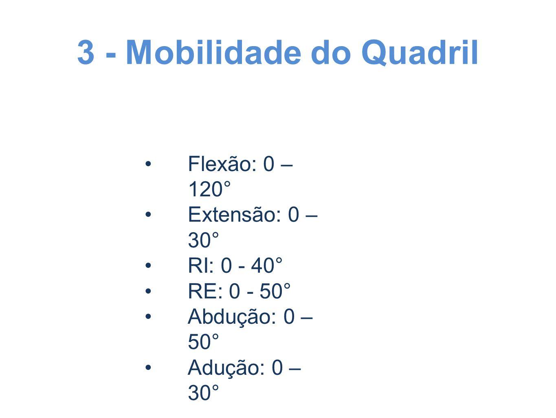 3 - Mobilidade do Quadril Flexão: 0 – 120 ° Extensão: 0 – 30° RI: 0 - 40° RE: 0 - 50° Abdução: 0 – 50° Adução: 0 – 30°