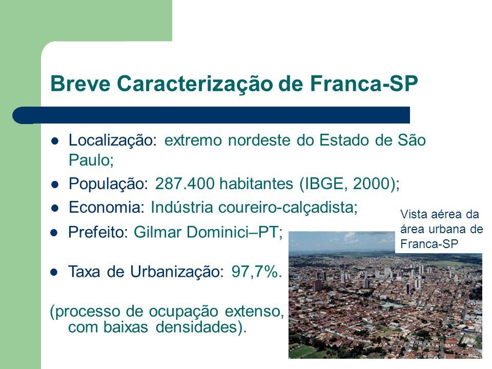 Breve Caracterização de Franca-SP Localização: extremo nordeste do Estado de São Paulo; População: 287.400 habitantes (IBGE, 2000); Economia: Indústri