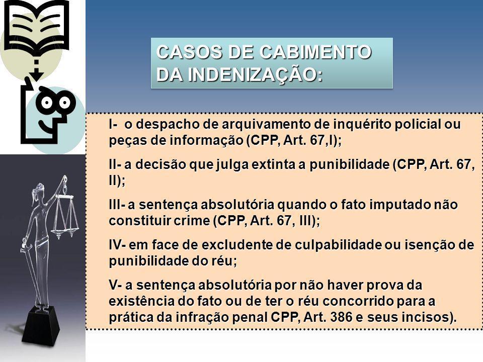 I- o despacho de arquivamento de inquérito policial ou peças de informação (CPP, Art. 67,I); II- a decisão que julga extinta a punibilidade (CPP, Art.