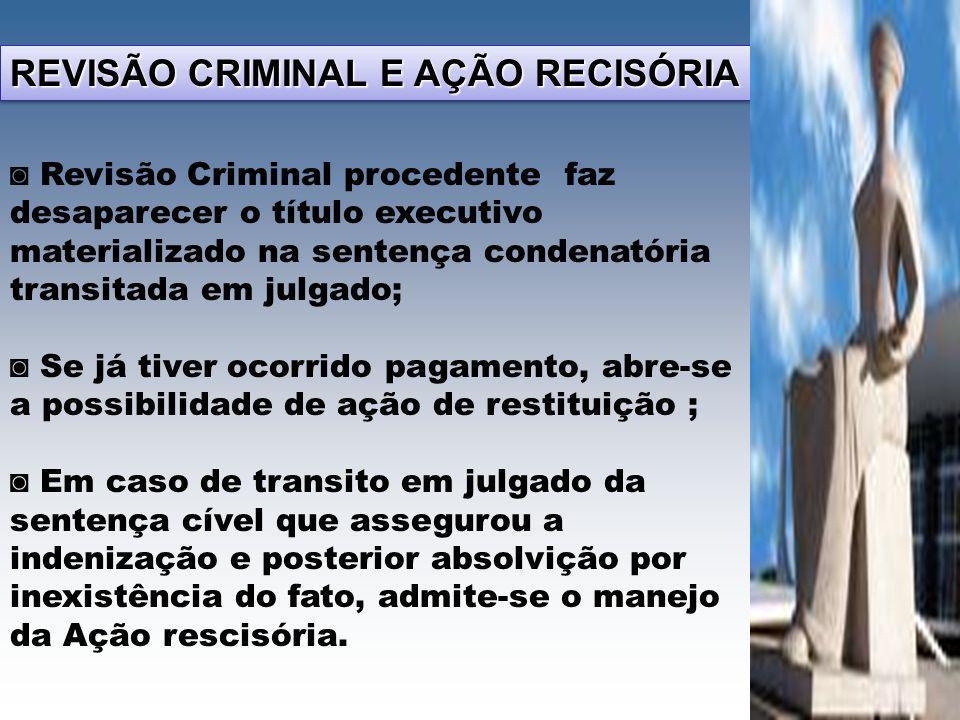 REVISÃO CRIMINAL E AÇÃO RECISÓRIA Revisão Criminal procedente faz desaparecer o título executivo materializado na sentença condenatória transitada em