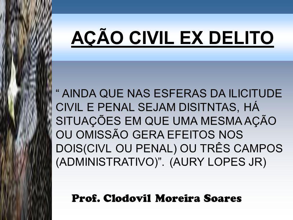 AÇÃO CIVIL EX DELITO Prof. Clodovil Moreira Soares AINDA QUE NAS ESFERAS DA ILICITUDE CIVIL E PENAL SEJAM DISITNTAS, HÁ SITUAÇÕES EM QUE UMA MESMA AÇÃ