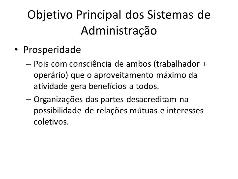 Objetivo Principal dos Sistemas de Administração Prosperidade – Pois com consciência de ambos (trabalhador + operário) que o aproveitamento máximo da