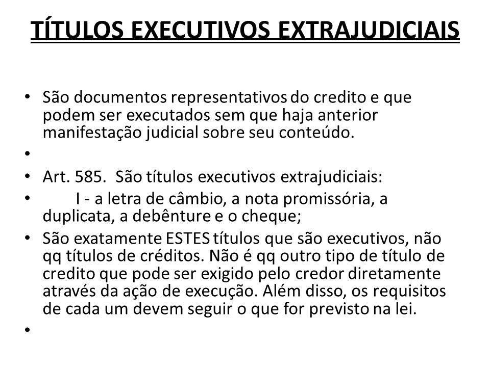 TÍTULOS EXECUTIVOS EXTRAJUDICIAIS São documentos representativos do credito e que podem ser executados sem que haja anterior manifestação judicial sob