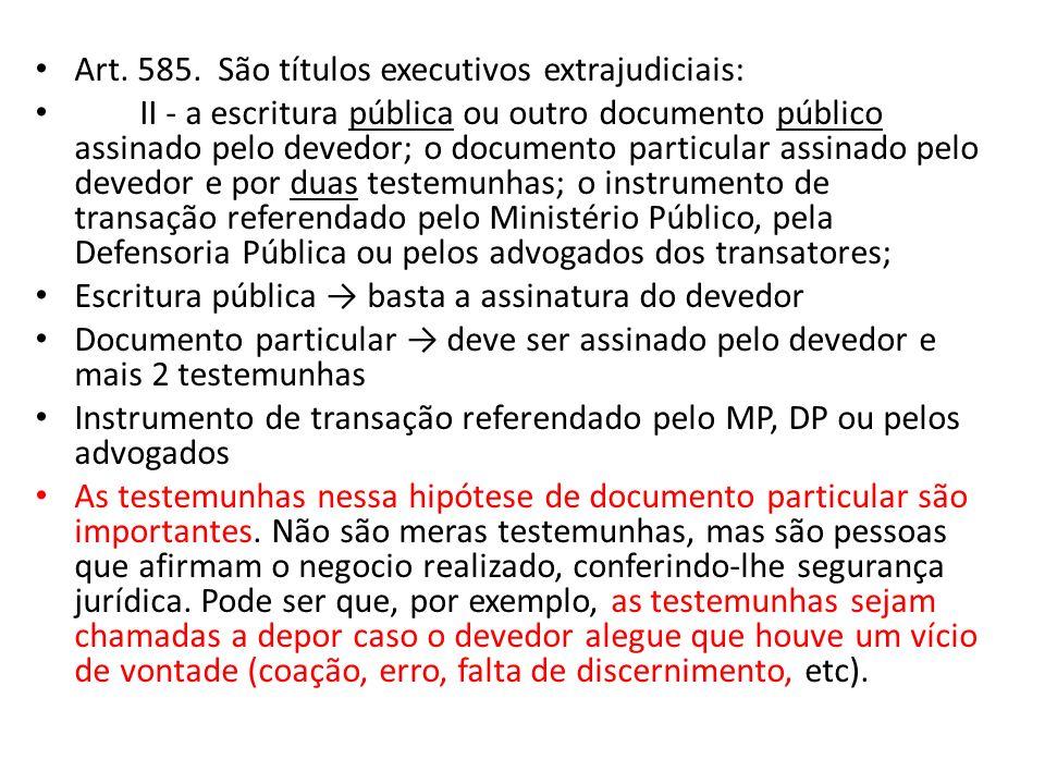 Art. 585. São títulos executivos extrajudiciais: II - a escritura pública ou outro documento público assinado pelo devedor; o documento particular ass