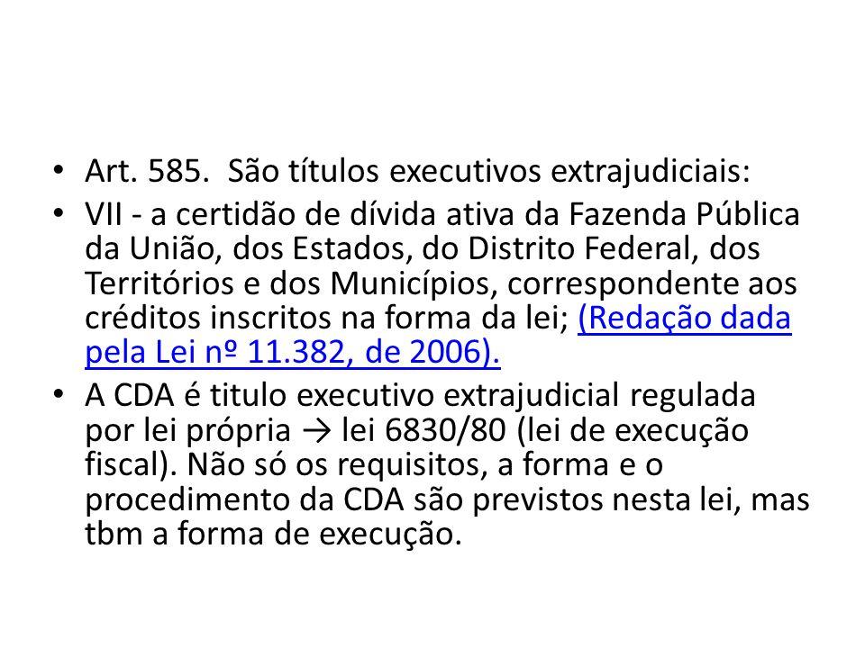 Art. 585. São títulos executivos extrajudiciais: VII - a certidão de dívida ativa da Fazenda Pública da União, dos Estados, do Distrito Federal, dos T