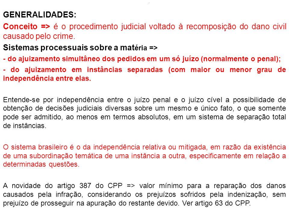 . GENERALIDADES: Conceito => é o procedimento judicial voltado à recomposição do dano civil causado pelo crime. Sistemas processuais sobre a mat éria