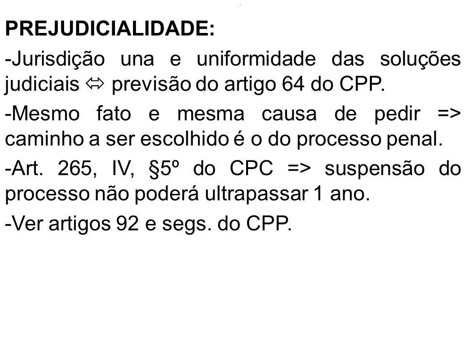. PREJUDICIALIDADE: -Jurisdição una e uniformidade das soluções judiciais previsão do artigo 64 do CPP. -Mesmo fato e mesma causa de pedir => caminho