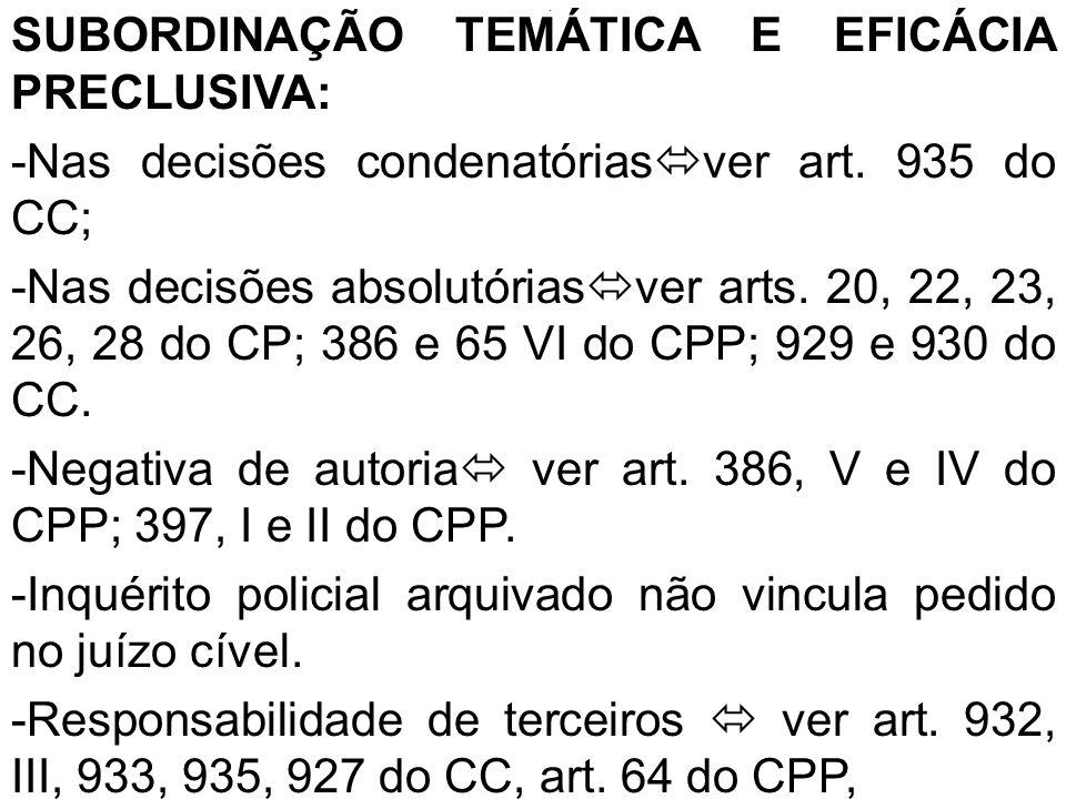 . SUBORDINAÇÃO TEMÁTICA E EFICÁCIA PRECLUSIVA: -Nas decisões condenatórias ver art. 935 do CC; -Nas decisões absolutórias ver arts. 20, 22, 23, 26, 28