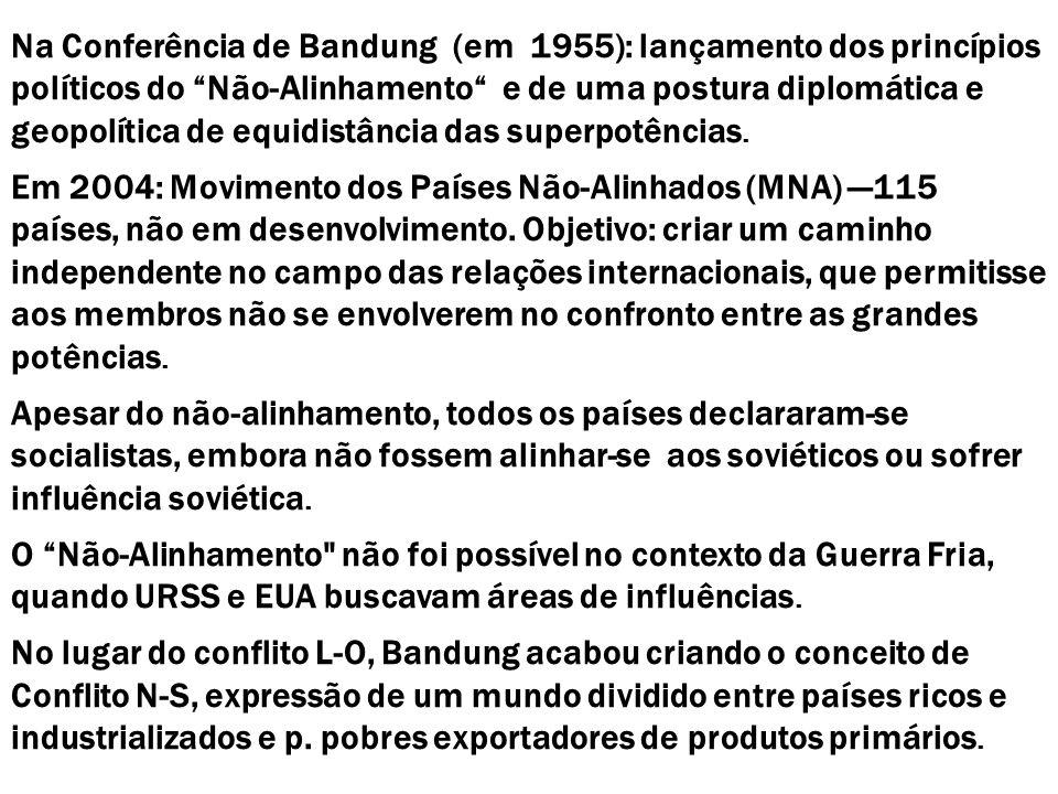 Na Conferência de Bandung (em 1955): lançamento dos princípios políticos do Não-Alinhamento e de uma postura diplomática e geopolítica de equidistânci