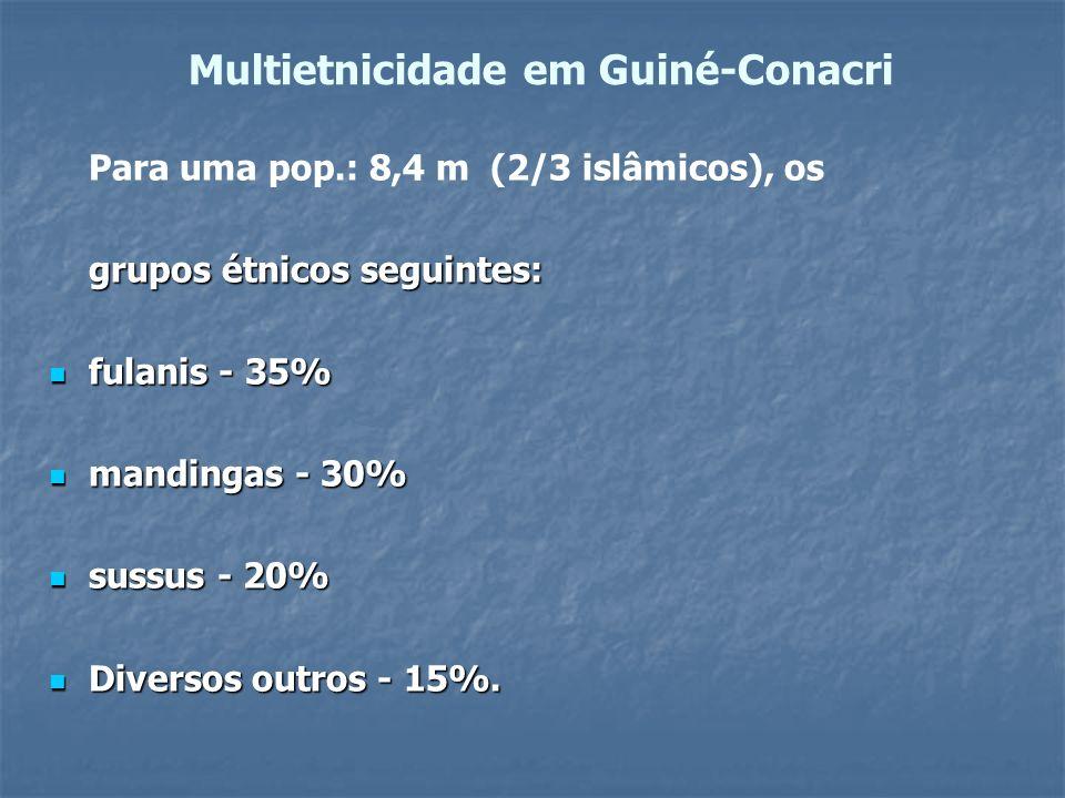 Multietnicidade em Guiné-Conacri Para uma pop.: 8,4 m (2/3 islâmicos), os grupos étnicos seguintes: fulanis - 35% fulanis - 35% mandingas - 30% mandin