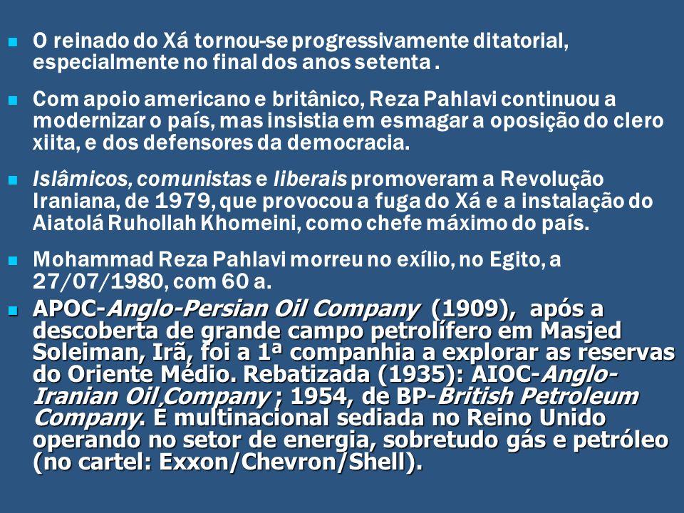 O reinado do Xá tornou-se progressivamente ditatorial, especialmente no final dos anos setenta. Com apoio americano e britânico, Reza Pahlavi continuo