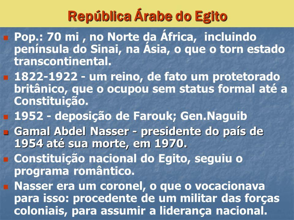 Pop.: 70 mi, no Norte da África, incluindo península do Sinai, na Ásia, o que o torn estado transcontinental. 1822-1922 - um reino, de fato um proteto