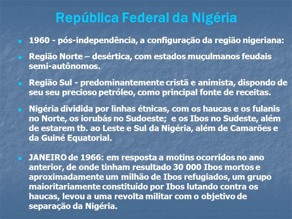República Federal da Nigéria 1960 - pós-independência, a configuração da região nigeriana: Região Norte – desértica, com estados muçulmanos feudais se
