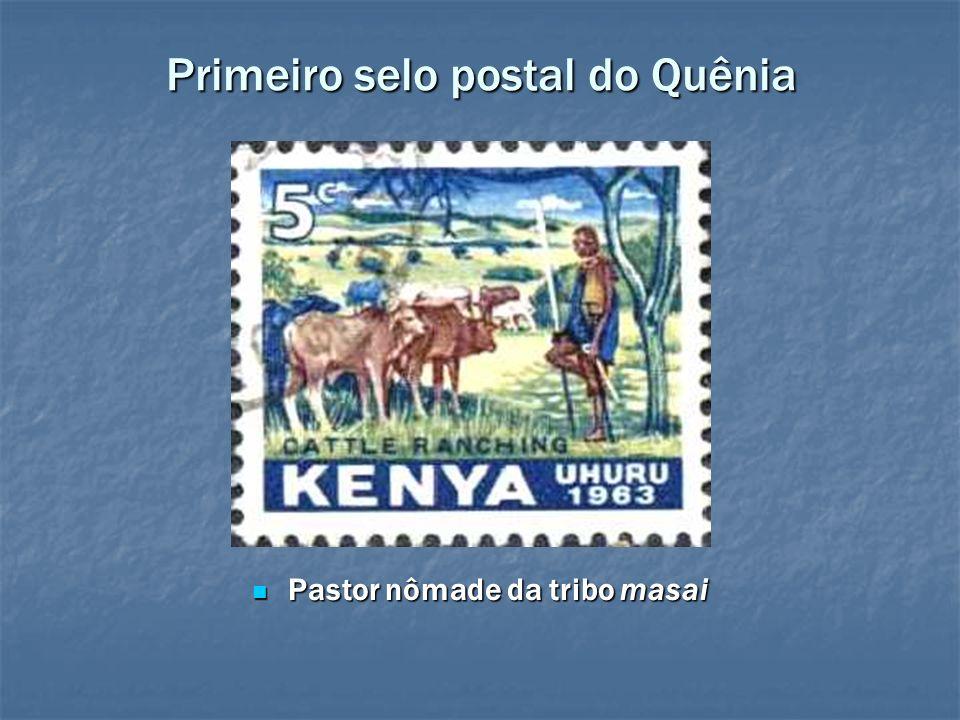 Primeiro selo postal do Quênia Pastor nômade da tribo masai Pastor nômade da tribo masai
