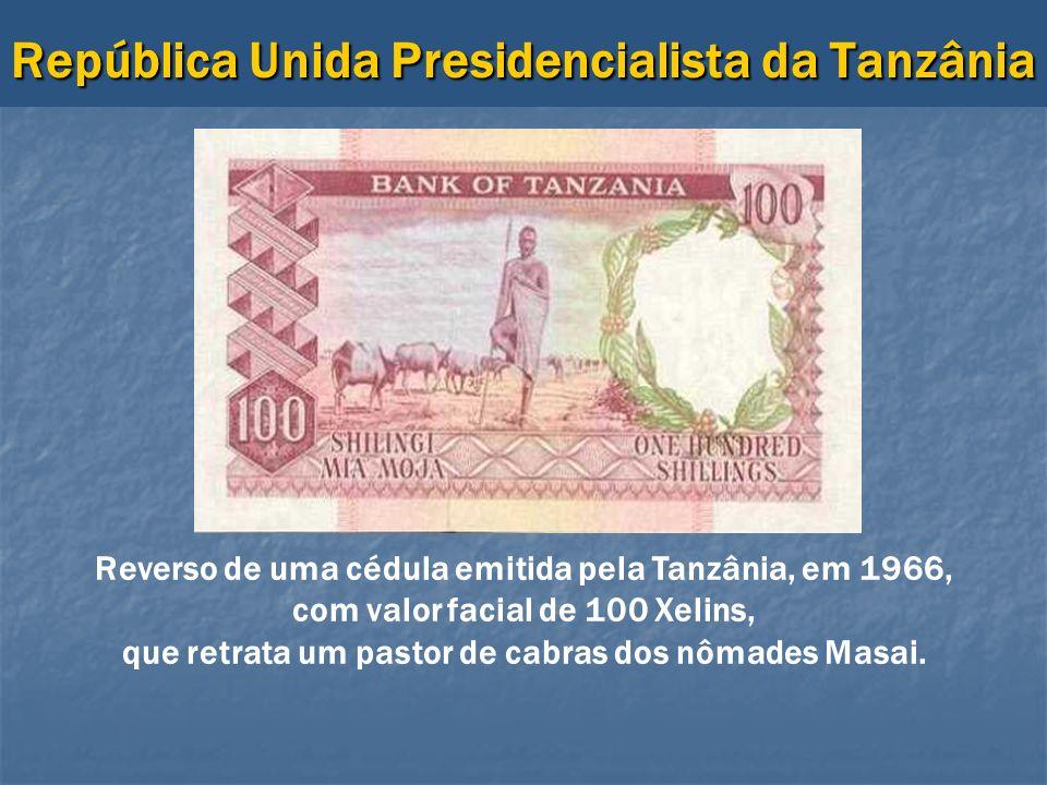República Unida Presidencialista da Tanzânia Reverso de uma cédula emitida pela Tanzânia, em 1966, com valor facial de 100 Xelins, que retrata um past