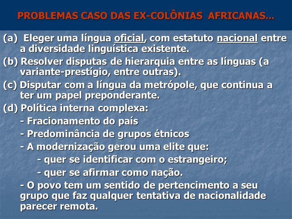 PROBLEMAS CASO DAS EX-COLÔNIAS AFRICANAS... (a) Eleger uma língua oficial, com estatuto nacional entre a diversidade linguística existente. (b) Resolv