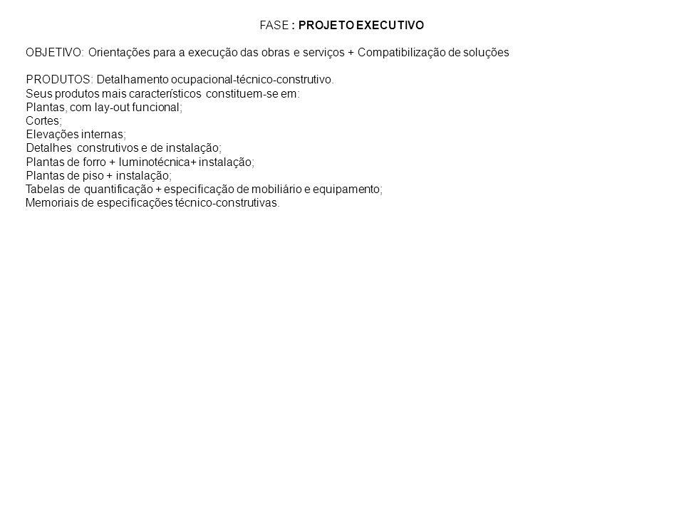 FASE : PROJETO EXECUTIVO OBJETIVO: Orientações para a execução das obras e serviços + Compatibilização de soluções PRODUTOS: Detalhamento ocupacional-