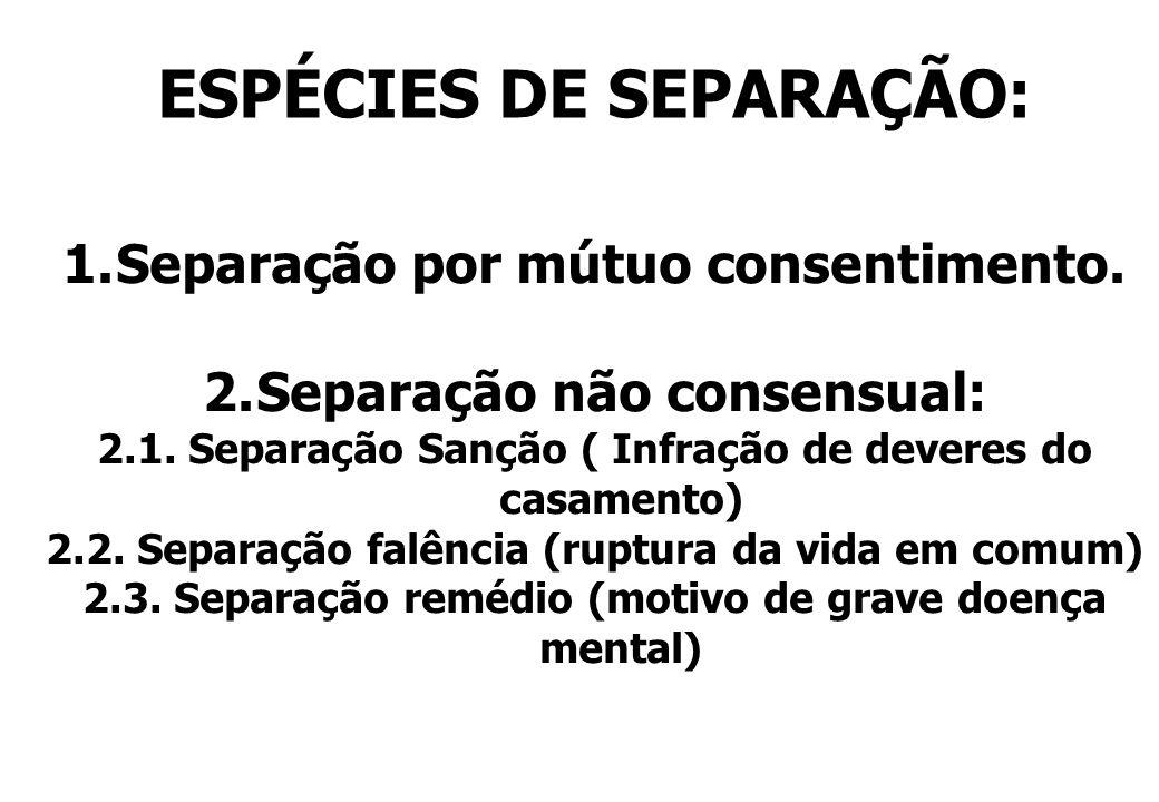 ESPÉCIES DE SEPARAÇÃO: 1.Separação por mútuo consentimento. 2.Separação não consensual: 2.1. Separação Sanção ( Infração de deveres do casamento) 2.2.