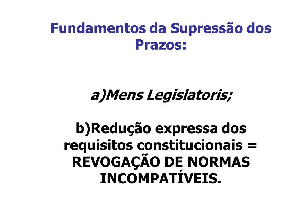 Fundamentos da Supressão dos Prazos: a)Mens Legislatoris; b)Redução expressa dos requisitos constitucionais = REVOGAÇÃO DE NORMAS INCOMPATÍVEIS.