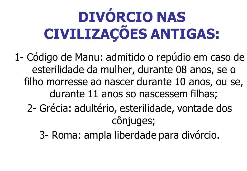 DIVÓRCIO NAS CIVILIZAÇÕES ANTIGAS: 1- Código de Manu: admitido o repúdio em caso de esterilidade da mulher, durante 08 anos, se o filho morresse ao na