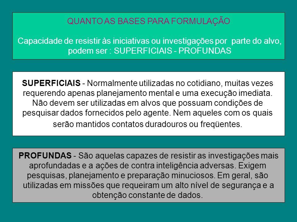 QUANTO AS BASES PARA FORMULAÇÃO Capacidade de resistir às iniciativas ou investigações por parte do alvo, podem ser : SUPERFICIAIS - PROFUNDAS SUPERFI