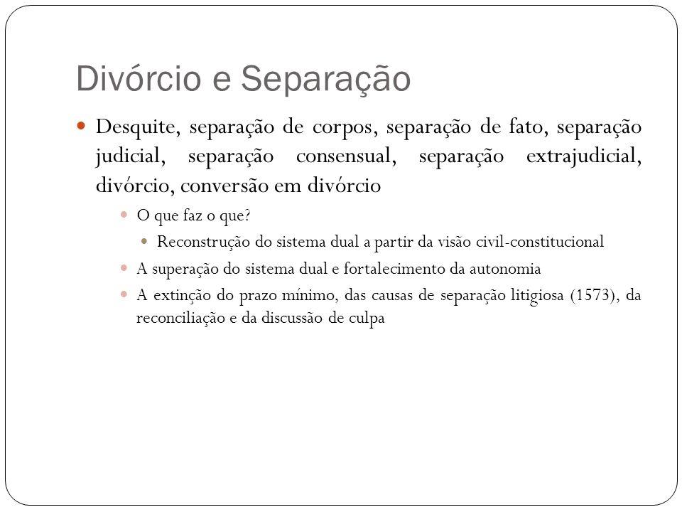 Desquite, separação de corpos, separação de fato, separação judicial, separação consensual, separação extrajudicial, divórcio, conversão em divórcio O