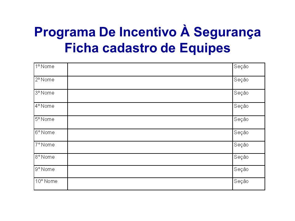 Programa De Incentivo À Segurança Ficha cadastro de Equipes
