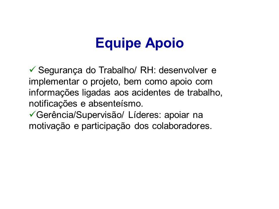 Equipe Apoio Segurança do Trabalho/ RH: desenvolver e implementar o projeto, bem como apoio com informações ligadas aos acidentes de trabalho, notific