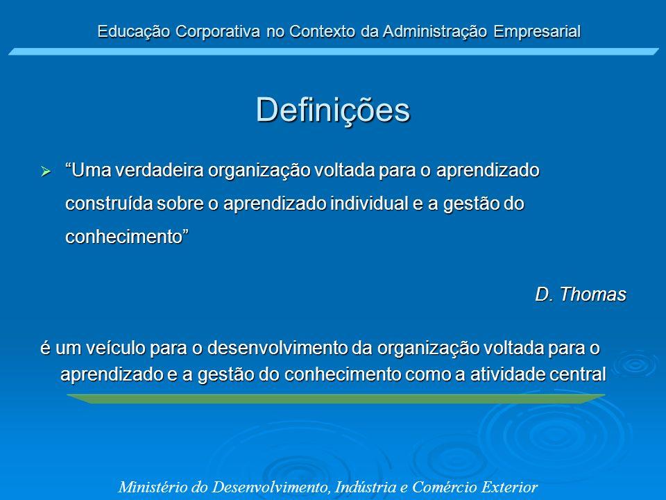 Educação Corporativa no Contexto da Administração Empresarial Ministério do Desenvolvimento, Indústria e Comércio Exterior Uma verdadeira organização