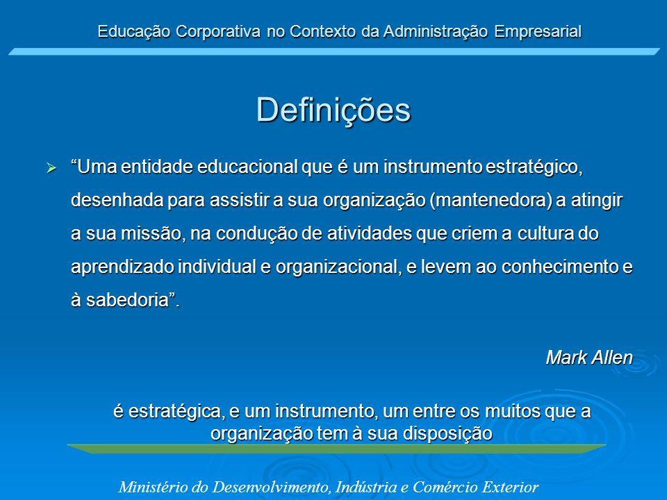 Educação Corporativa no Contexto da Administração Empresarial Ministério do Desenvolvimento, Indústria e Comércio Exterior Uma entidade educacional qu