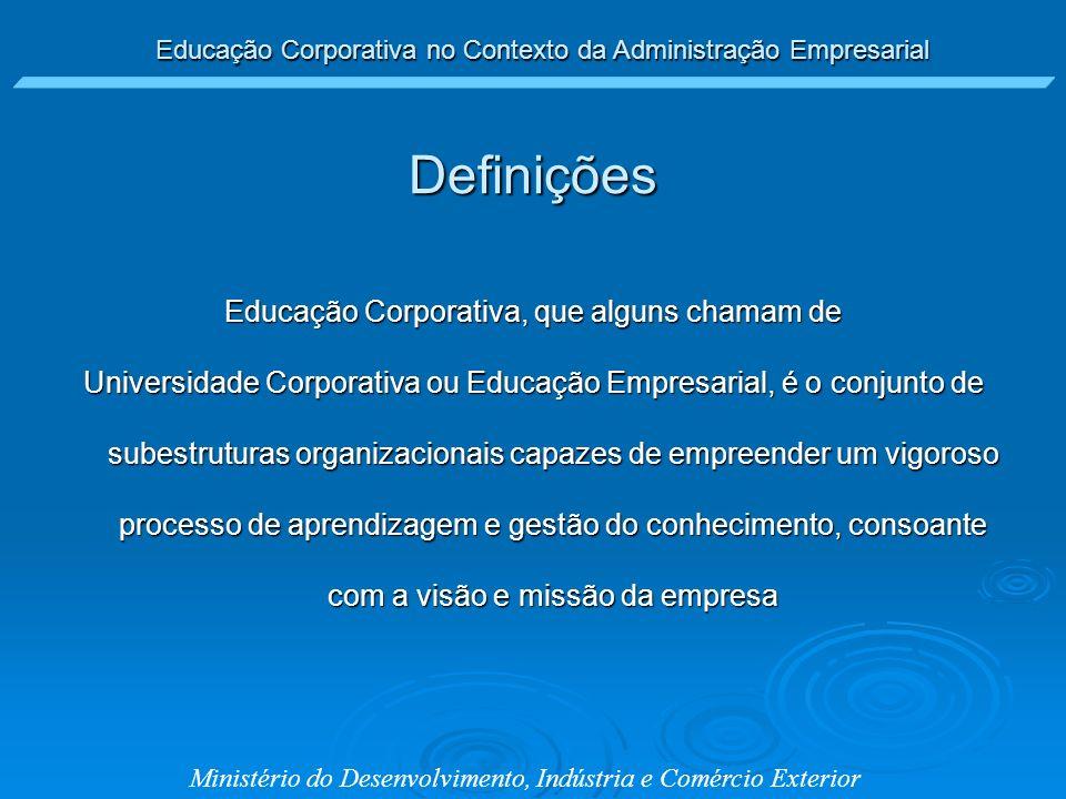 Educação Corporativa no Contexto da Administração Empresarial Ministério do Desenvolvimento, Indústria e Comércio Exterior Educação Corporativa, que a